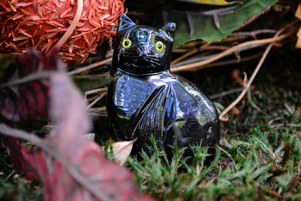 Black Onyx Cat Statues~For Intuition, Astral Travel & Protection