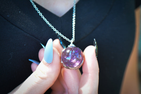 Amethyst Crystal Ball Necklaces - Wild Witchery