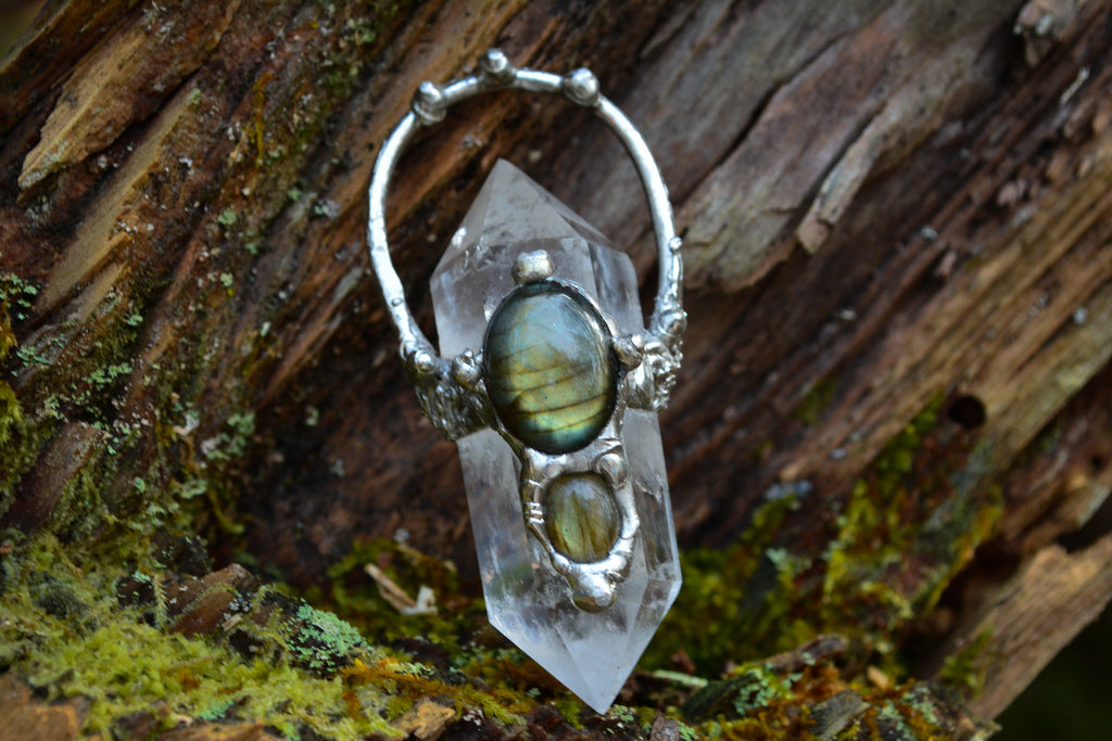 Quartz Point + Double Labradorite Pendant - Wild Witchery