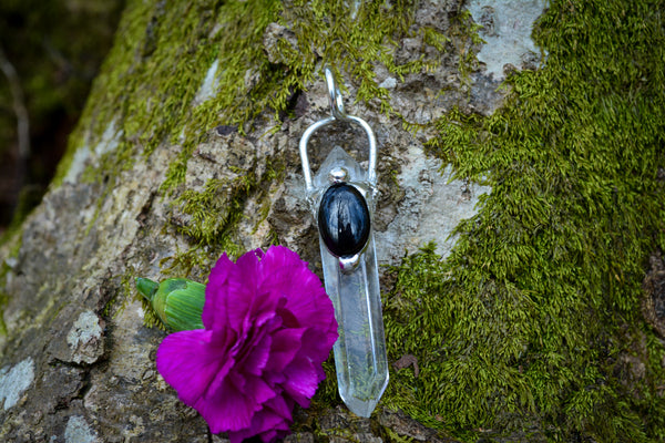 Quartz + Onyx Pendant Necklace Crystal Jewelry- Wild Witchery