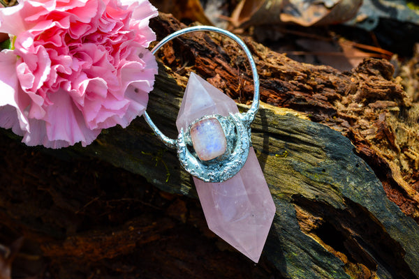 Rose Quartz + Moonstone Pendant - Wild Witchery