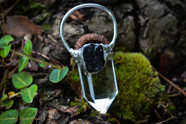 Clear Quartz + Black Tourmaline Pendant - Wild Witchery