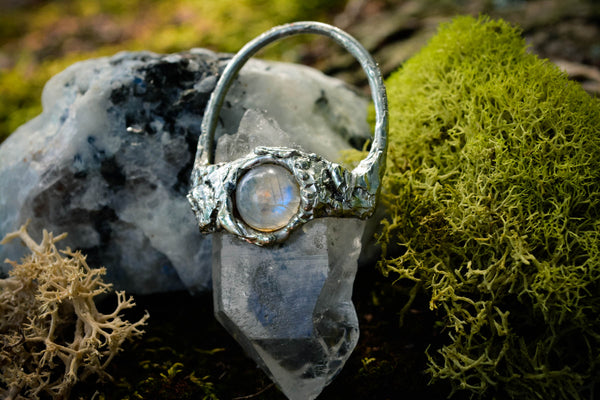 Large Clear Quartz & Moonstone Pendant - Wild Witchery