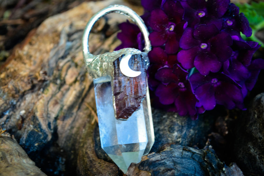 Purple Scapolite + Clear Quartz Pendant - Wild Witchery