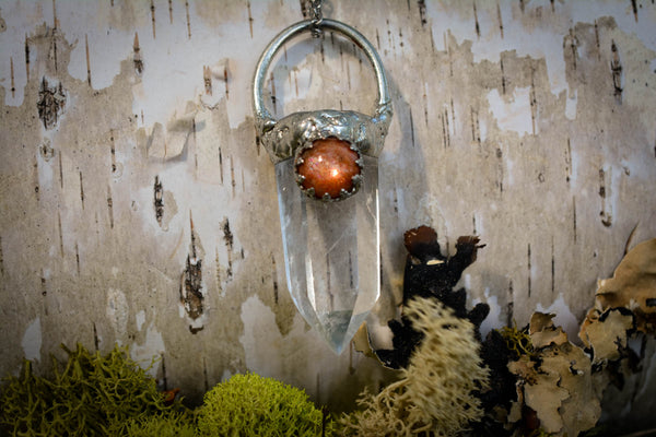 Sunstone & Clear Quartz Pendant - Wild Witchery