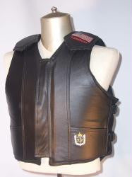Black Leather Lambert Master Pro Bull Riding Vest
