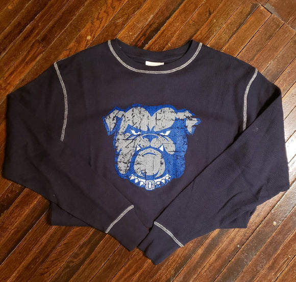 Bulldog Long Sleeve Cross Stitch Waffle Shirt