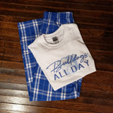 Bulldogs Pajama Set - Youth Blue/Silver Flannel