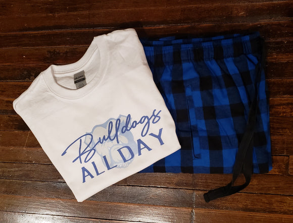 Bulldogs Pajama Set - Royal/Black Check