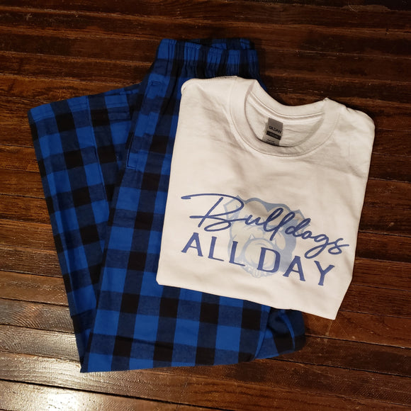 Bulldogs Pajama Set - Youth Blue/Black Check