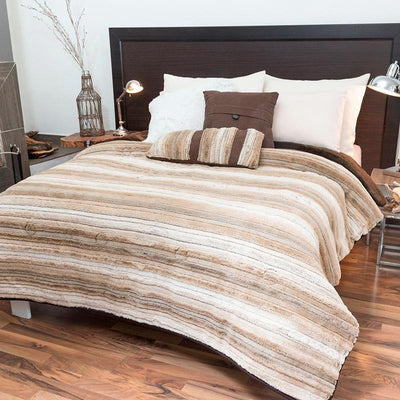 Bed Blanket Woods Beige And Brown Guarantee* Free Shipping