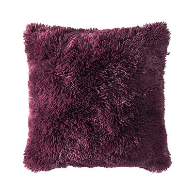 Burgundy Faux Fur Throw Pillow