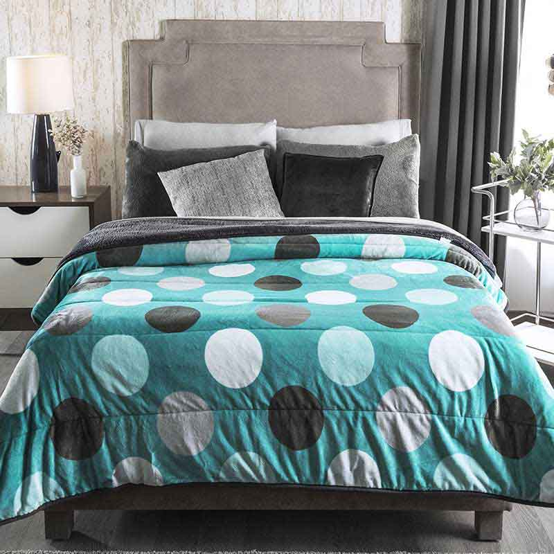 "Blue dots Winter blanket ""Mykonos"""