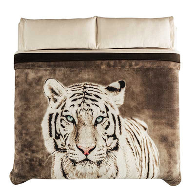 Winter Bed Cover White Tiger