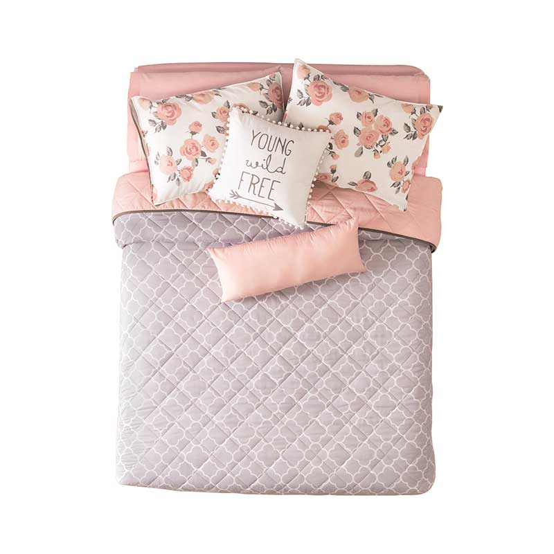 Pink Bedding Set, Reversible to grey