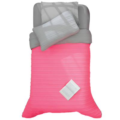 "Pink Comforter ""Neon is on!"" Reversible to grey"