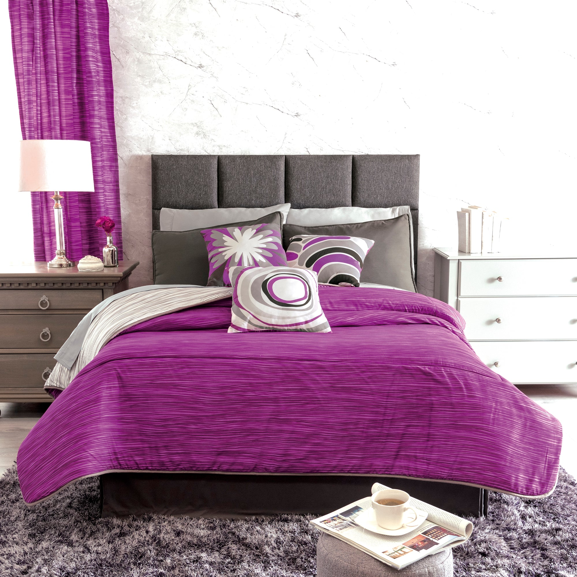 Magenta Comforter Set Vianney Home Decor