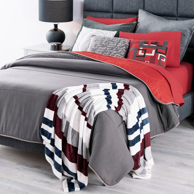 Gray Bedding Set, Reversible To Red