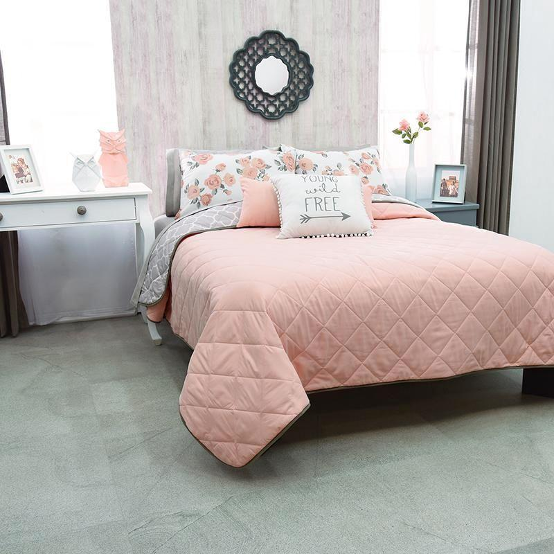 Pink Bedding Set Reversible! Guarantee* Teen Free Shipping