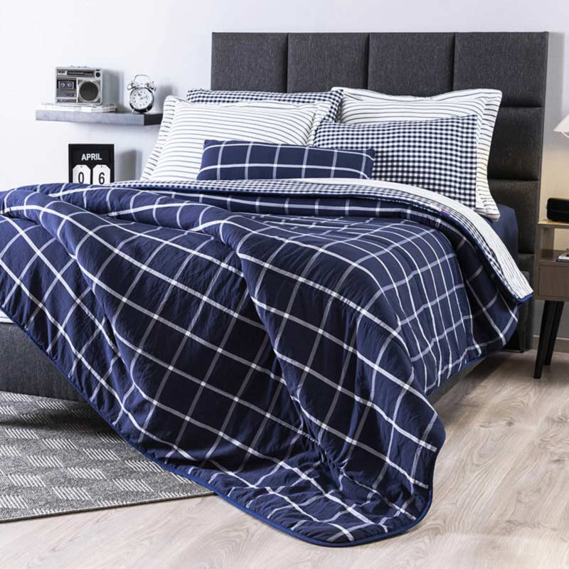 Plaid Blue Comforter Set
