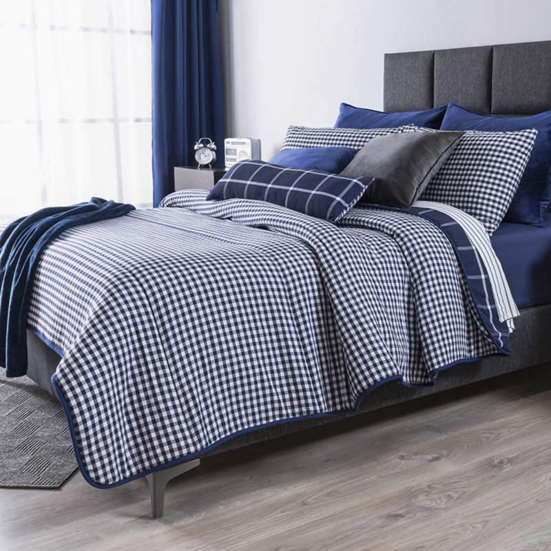 Plaid blue Comforter set, Double view!