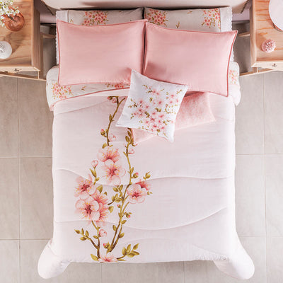 Peach Flower Comforter Set
