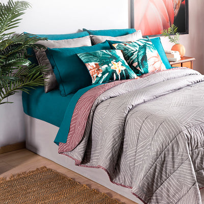 Dusty Pink Reversible Comforter Set