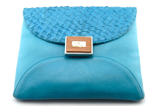 Sapphire Blue Italian Leather Mani Clutch