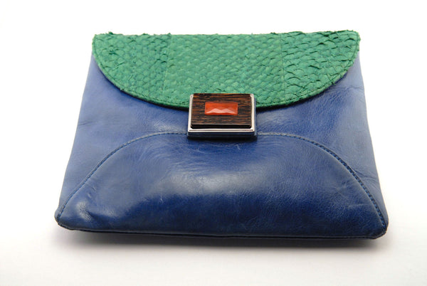 Blue Italian Leather Mani Clutch