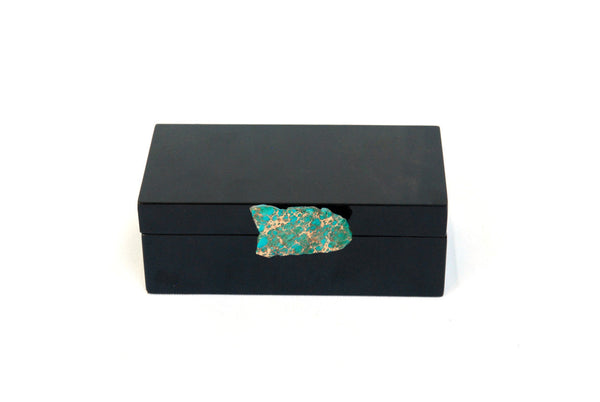 Black Lacquer Box with Turquoise Agate