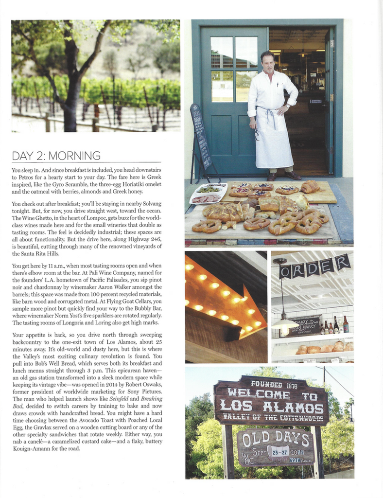 West Hollywood Magazine The Getaway Santa Barbara's Santa Ynez Valley Bob's Well Bread Bakery