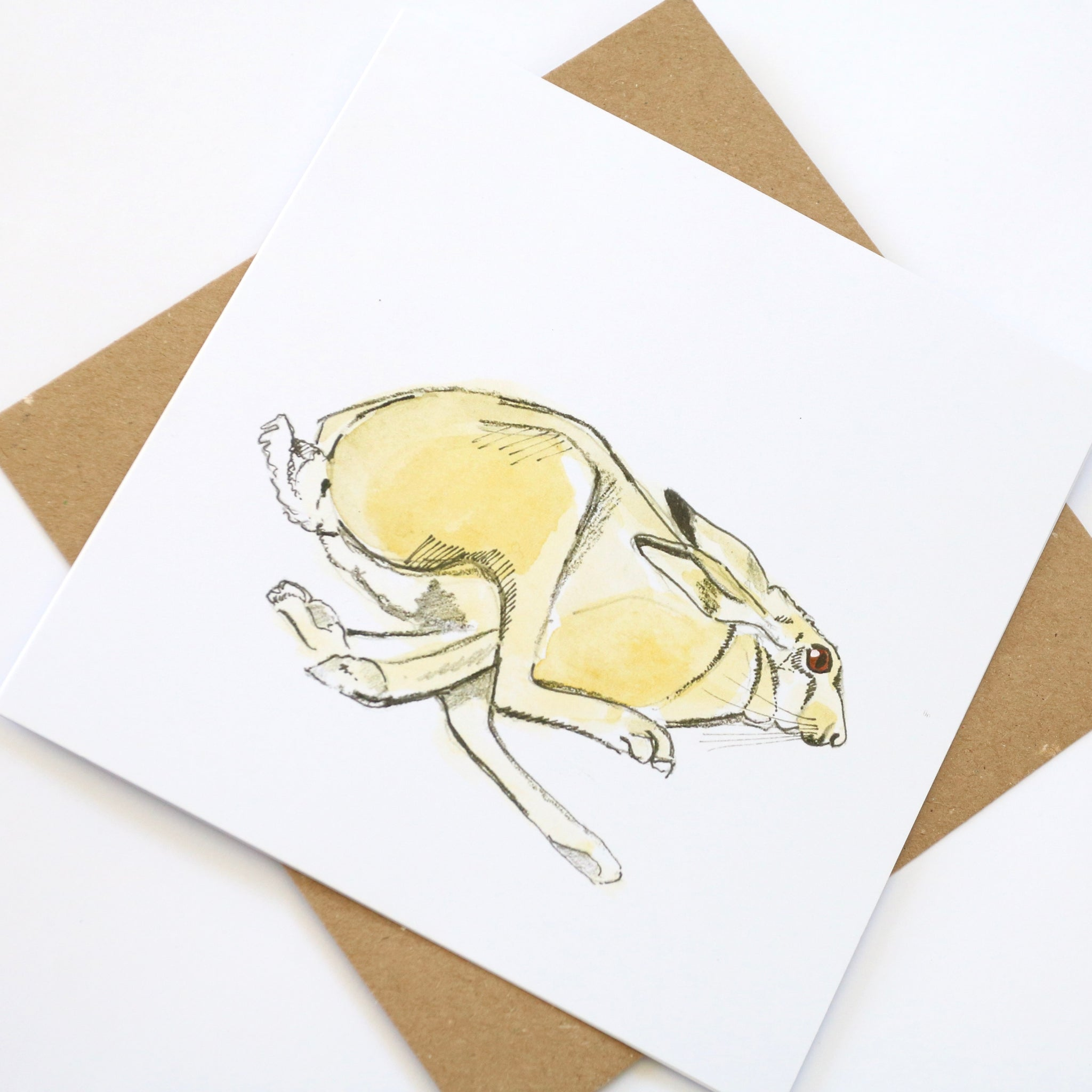 Running hare square card