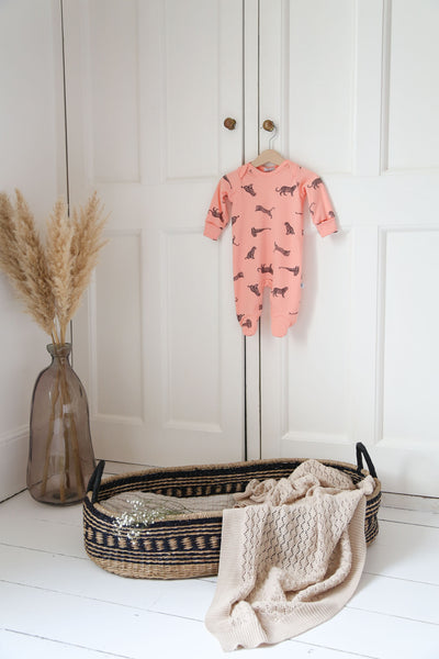 Coral Leopard - Baby Sleepsuit