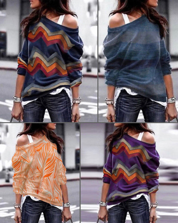 Long Sleeve Print Shirt Tops