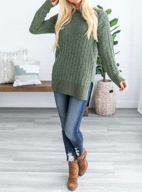 Chic Popcorn Tunic Top - Light Olive