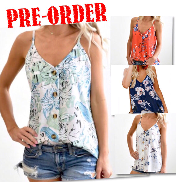 Floral Print Button Down Tank
