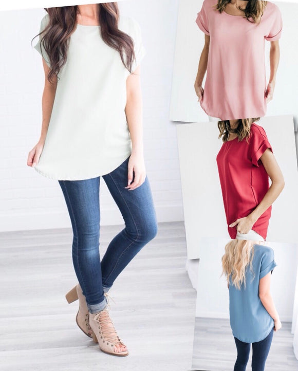 Cuffed Sleeve Tunic Top