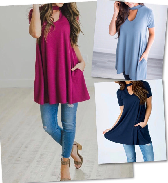Choker Swing Tunics w/Pockets