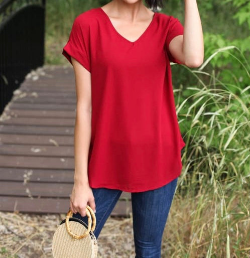 V-Neck Cuffed Sleeve Tops - Dark Red + FREE SHIPPING