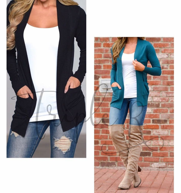 Solid Boyfriend Cardigan w/Pockets