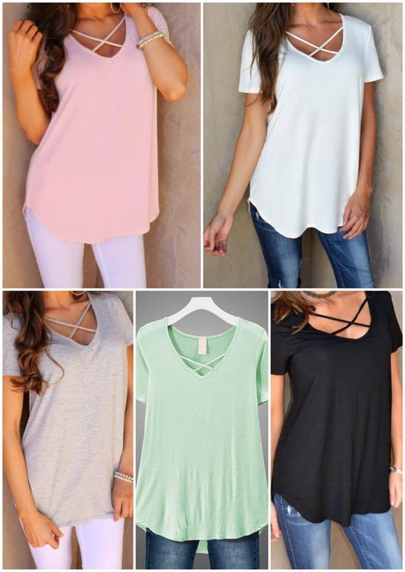 Criss Cross Tunic Top - Short Sleeves