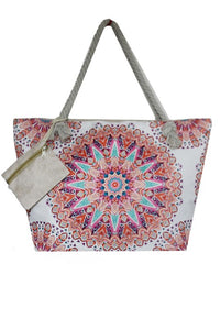 Medallion Canvas Tote Bag w/Coin Purse