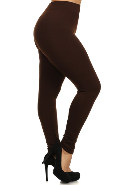 Solid Fleece Leggings - Curvy