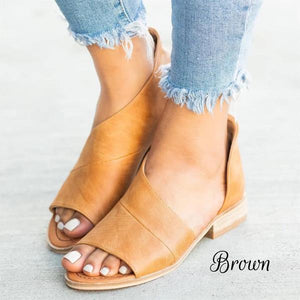 Fashionista Peep Toe Flats - Brown