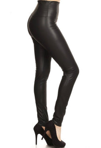 Knockout Faux Leather High Waisted Black Leggings + FREE SHIPPING