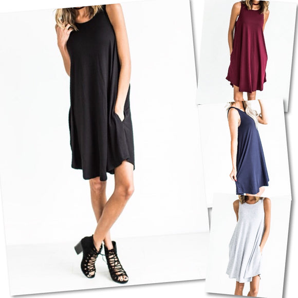 Sleeveless Pocket Swing Dress