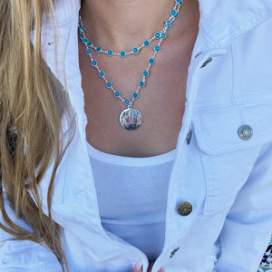 Double Strand Crystal & Disc Necklace