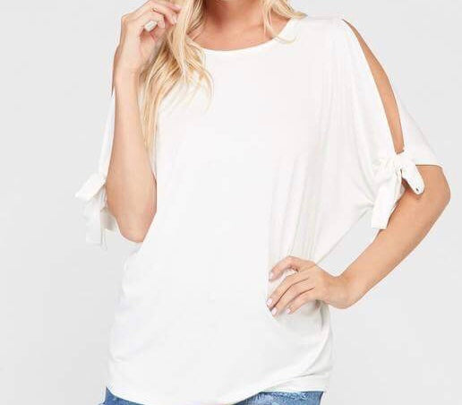 Tie Sleeve Tunic Top - Ivory
