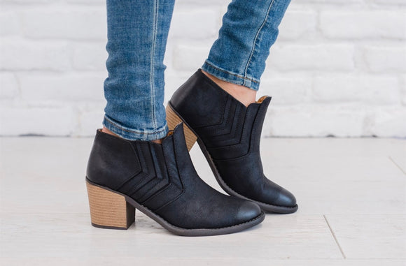Distressed Ankle Booties w/Side Stitching Detail