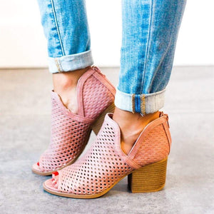 Open Toe Perforated Booties - Mauve